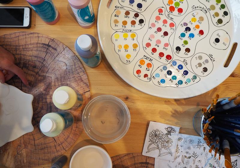 palette de peinture sur ceramique