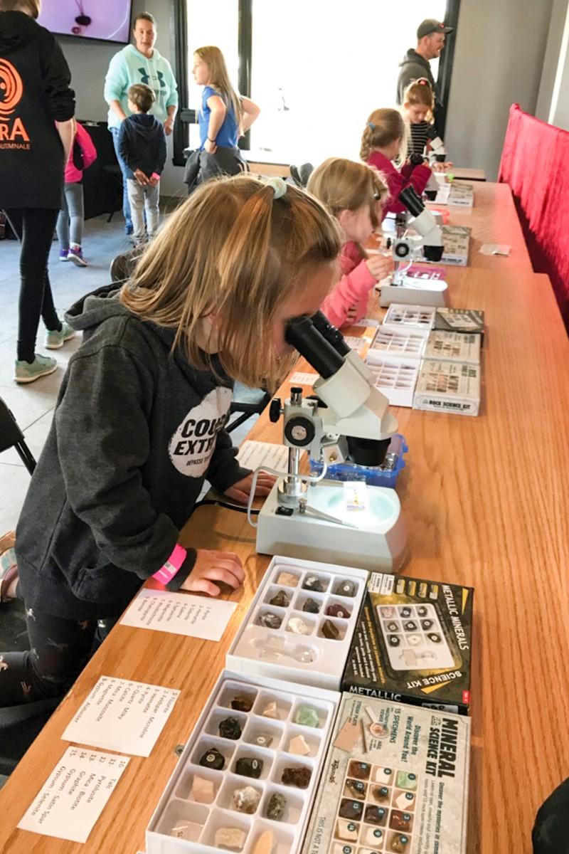 Petite fille regardant dans un microscope