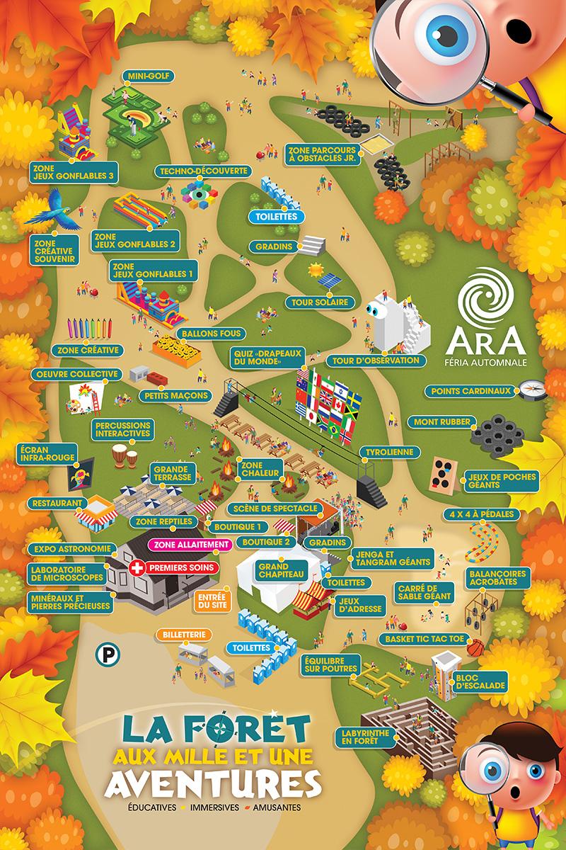 Plan des activités sur le site d'Ara Féria