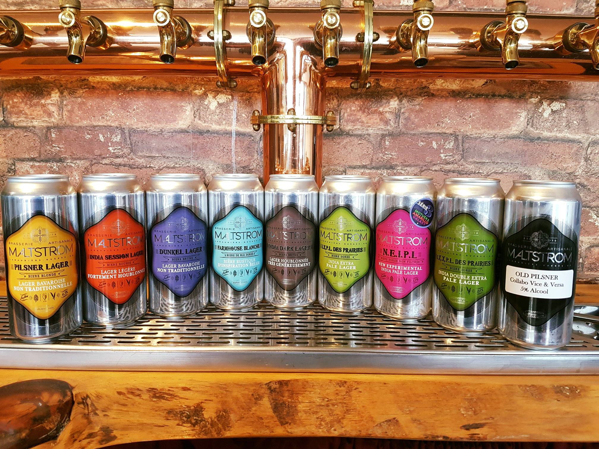 Collection de bières de la microbrasserie Maltstrom